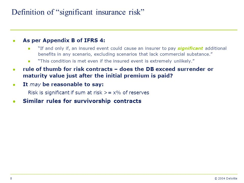 Definition of significant insurance risk