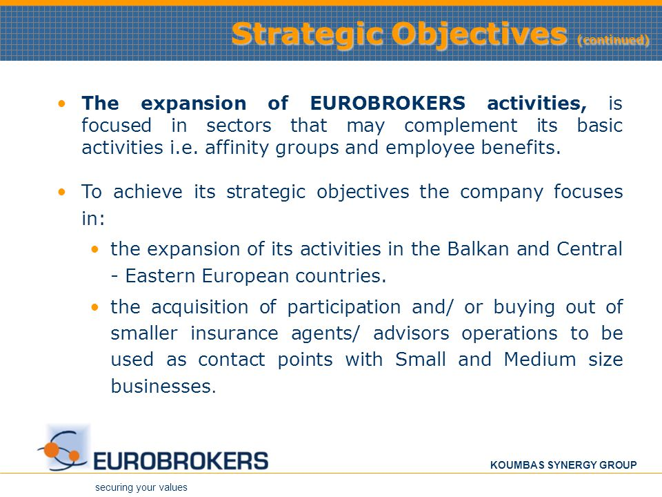 Strategic Objectives (continued)