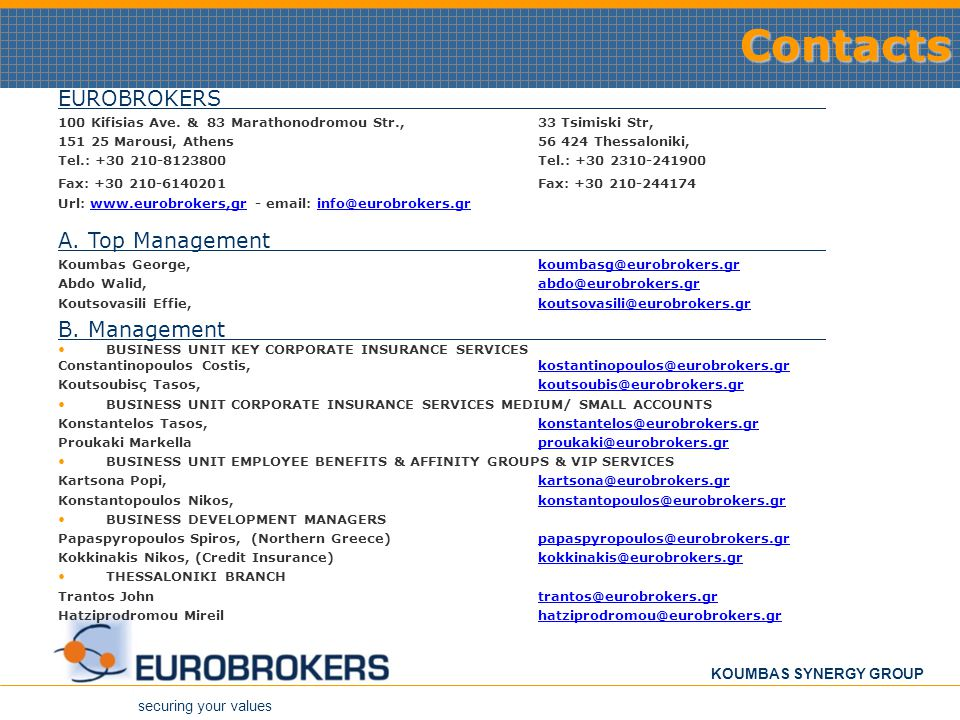 Contacts EUROBROKERS Α. Top Management Β. Management