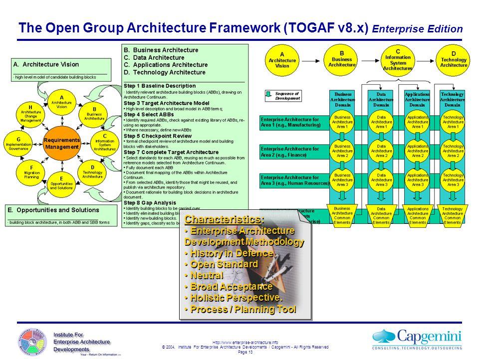 The Open Group Architecture Framework (TOGAF v8.x) Enterprise Edition