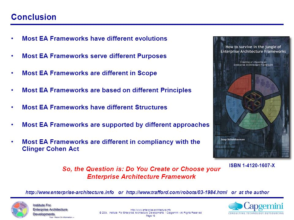 Conclusion Most EA Frameworks have different evolutions