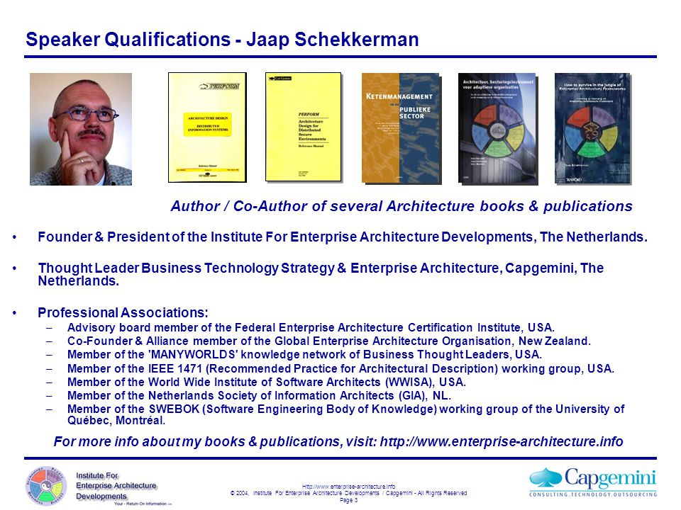 Speaker Qualifications - Jaap Schekkerman