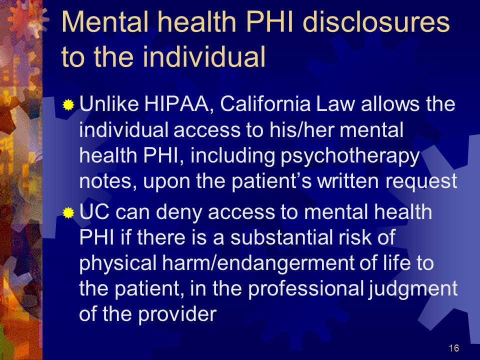 Mental health PHI disclosures to the individual