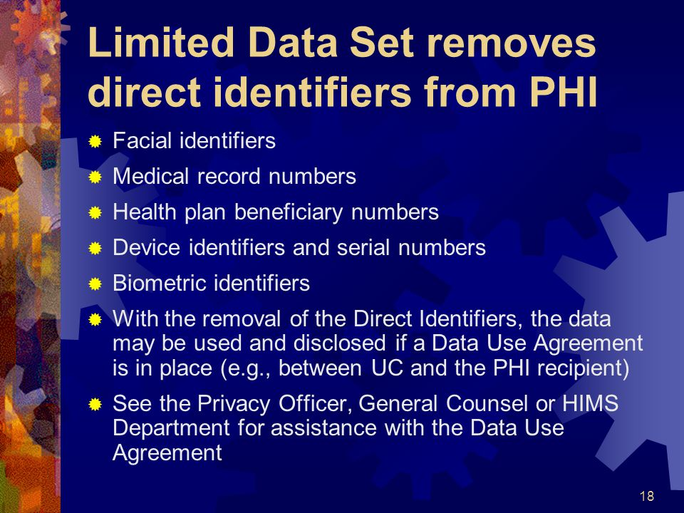 Limited Data Set removes direct identifiers from PHI