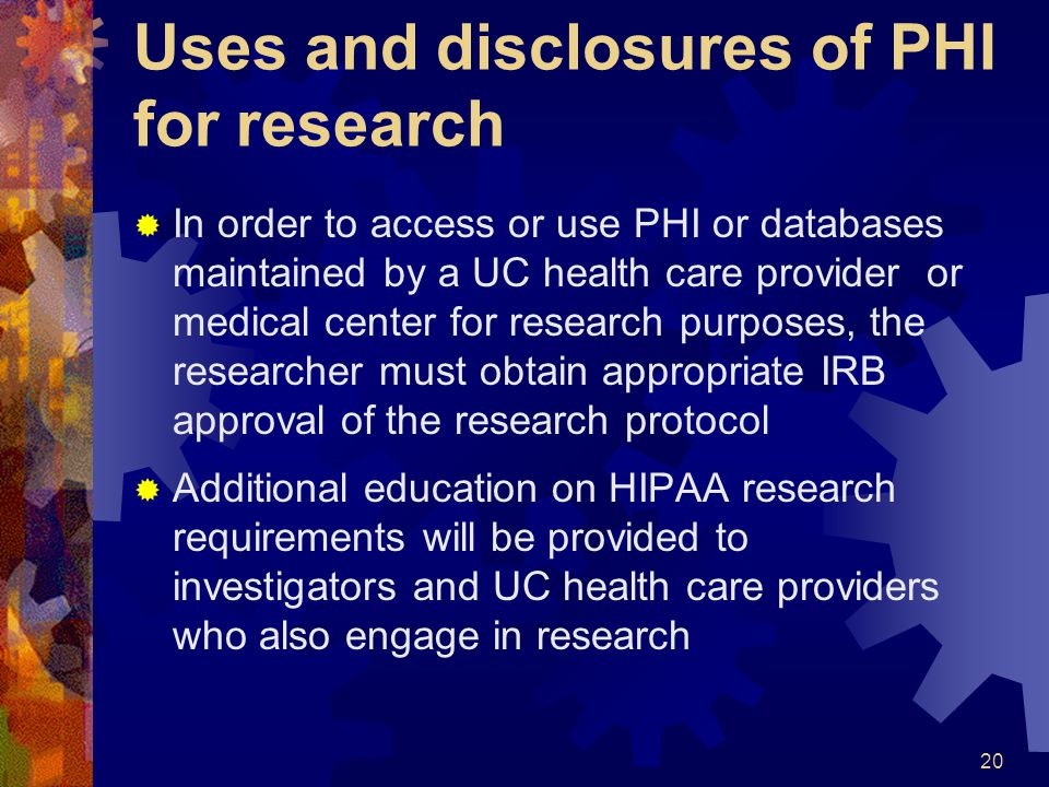 Uses and disclosures of PHI for research