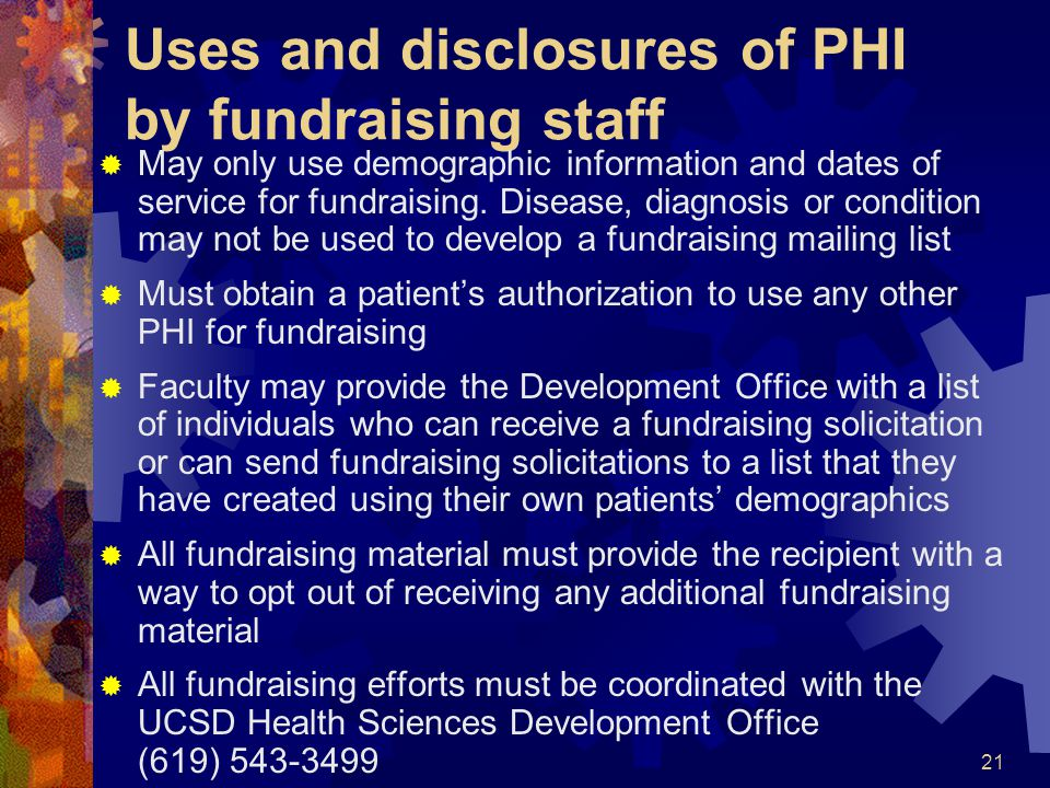 Uses and disclosures of PHI by fundraising staff