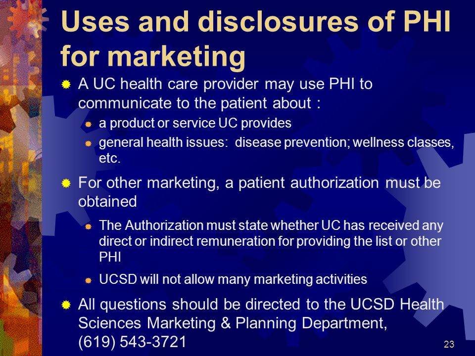 Uses and disclosures of PHI for marketing