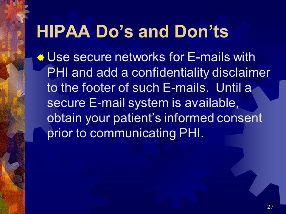 HIPAA Do's and Don'ts