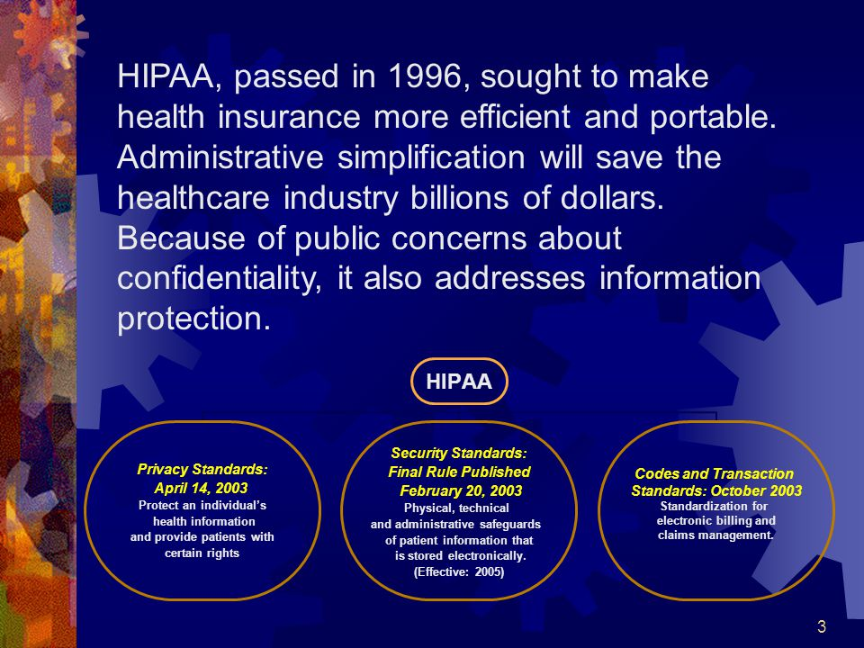 HIPAA, passed in 1996, sought to make health insurance more efficient and portable.