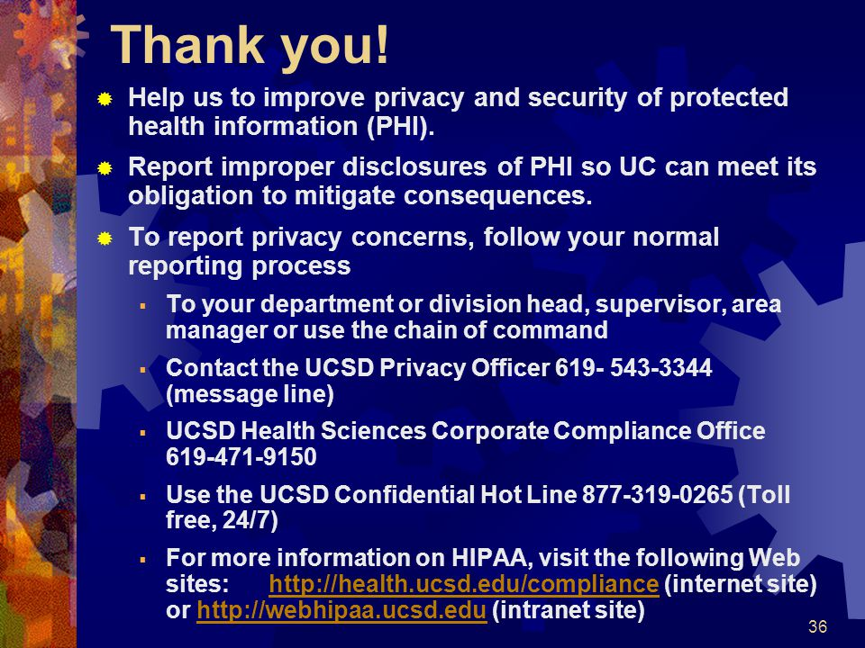 Thank you! Help us to improve privacy and security of protected health information (PHI).