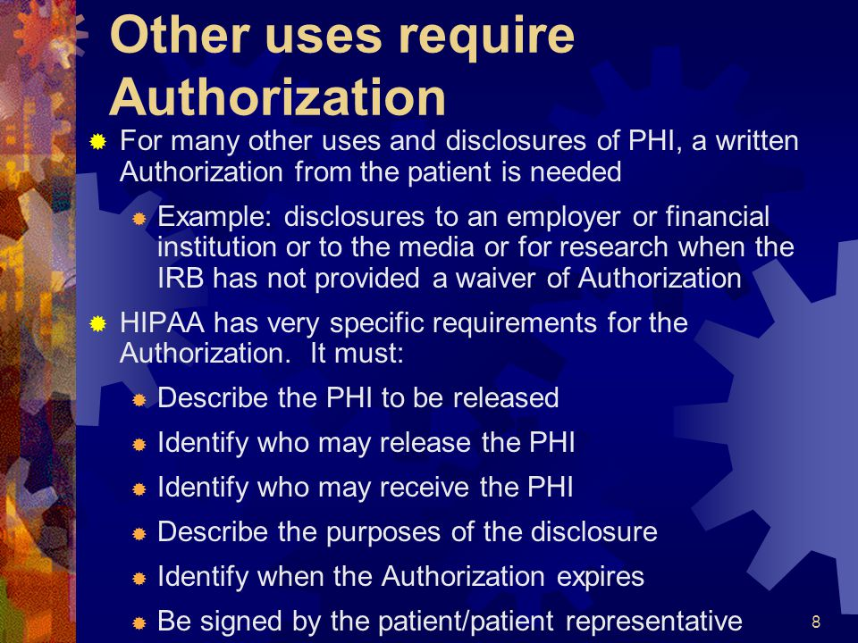 Other uses require Authorization