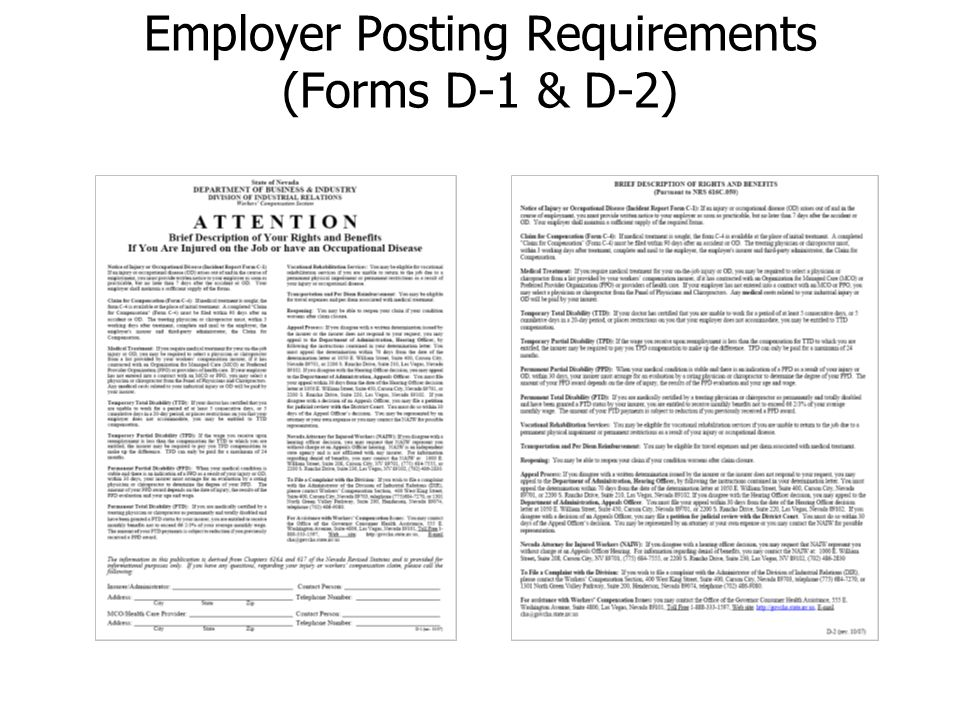 Employer Posting Requirements (Forms D-1 & D-2)