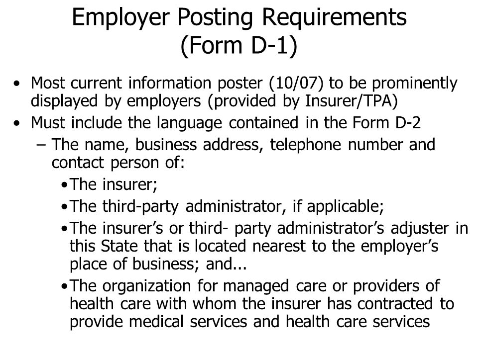 Employer Posting Requirements (Form D-1)