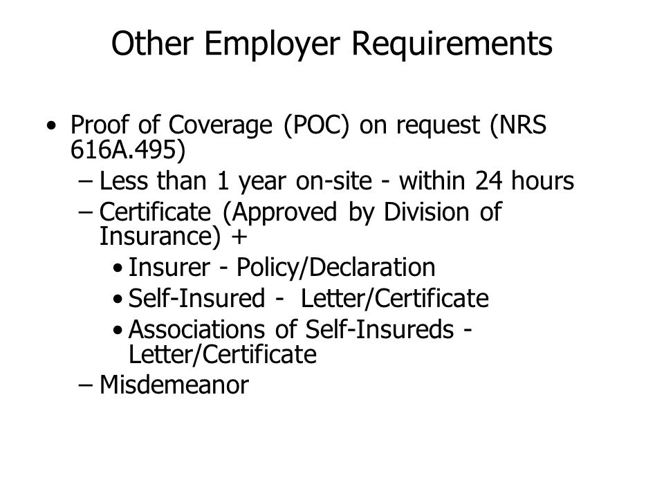 Other Employer Requirements