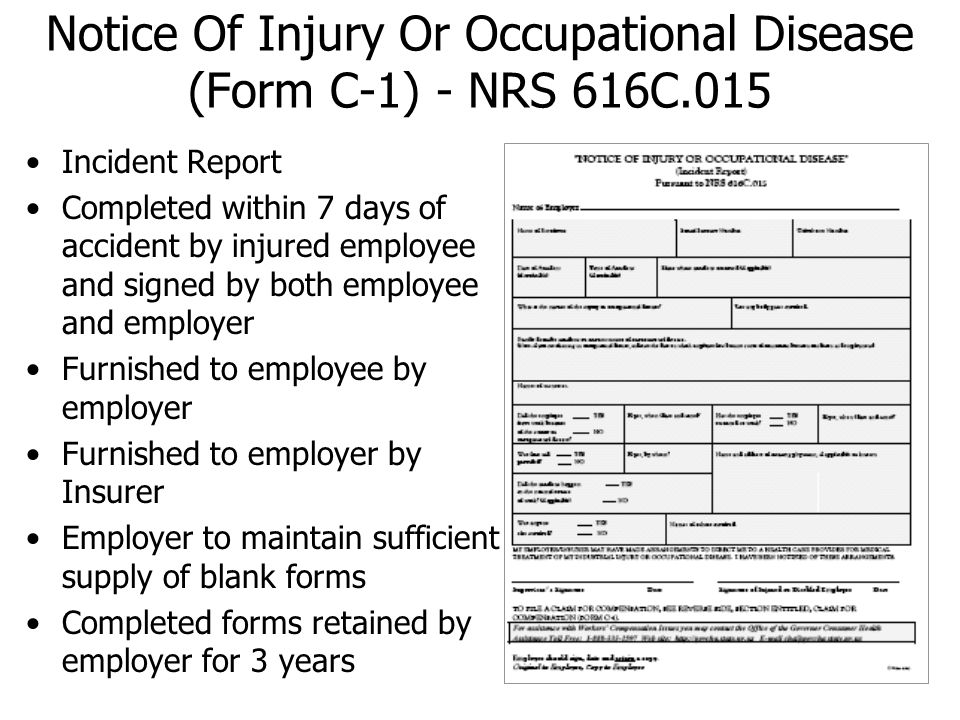Notice Of Injury Or Occupational Disease (Form C-1) - NRS 616C.015