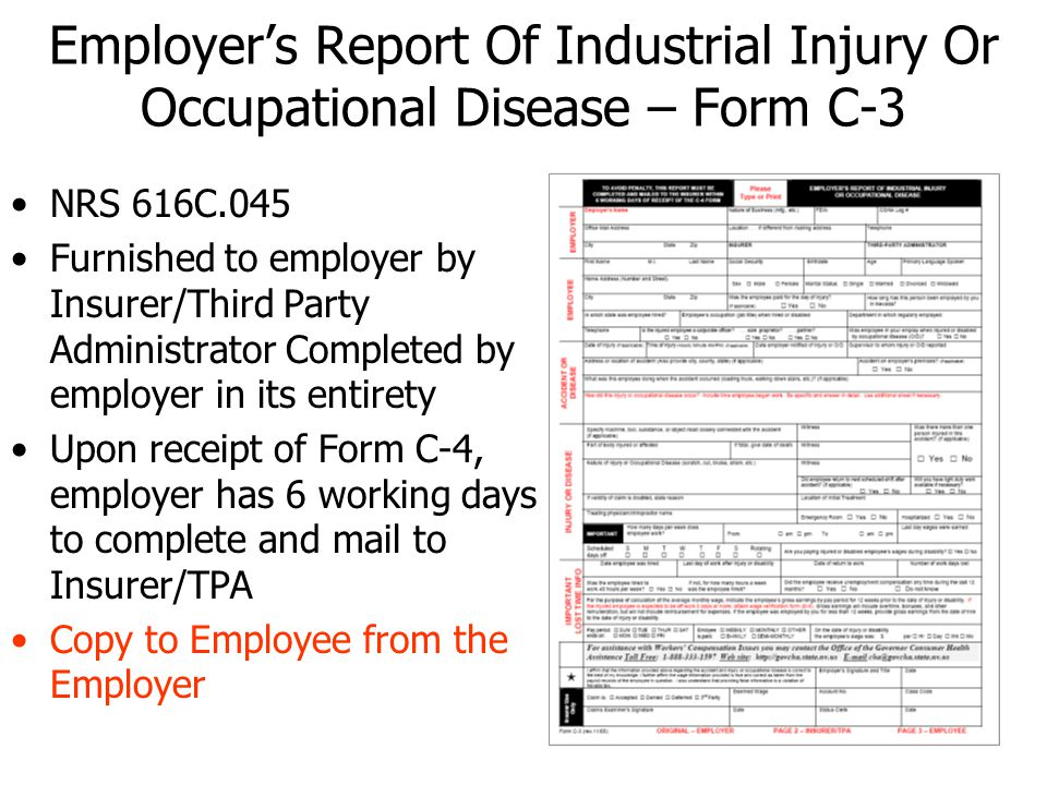 Employer's Report Of Industrial Injury Or Occupational Disease – Form C-3