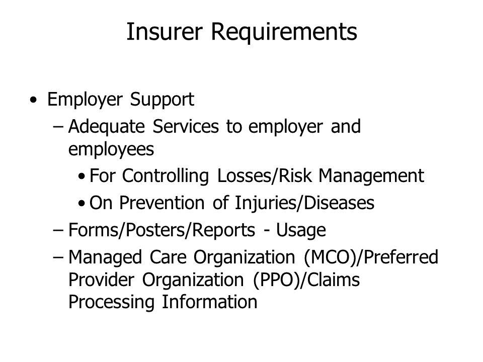 Insurer Requirements Employer Support