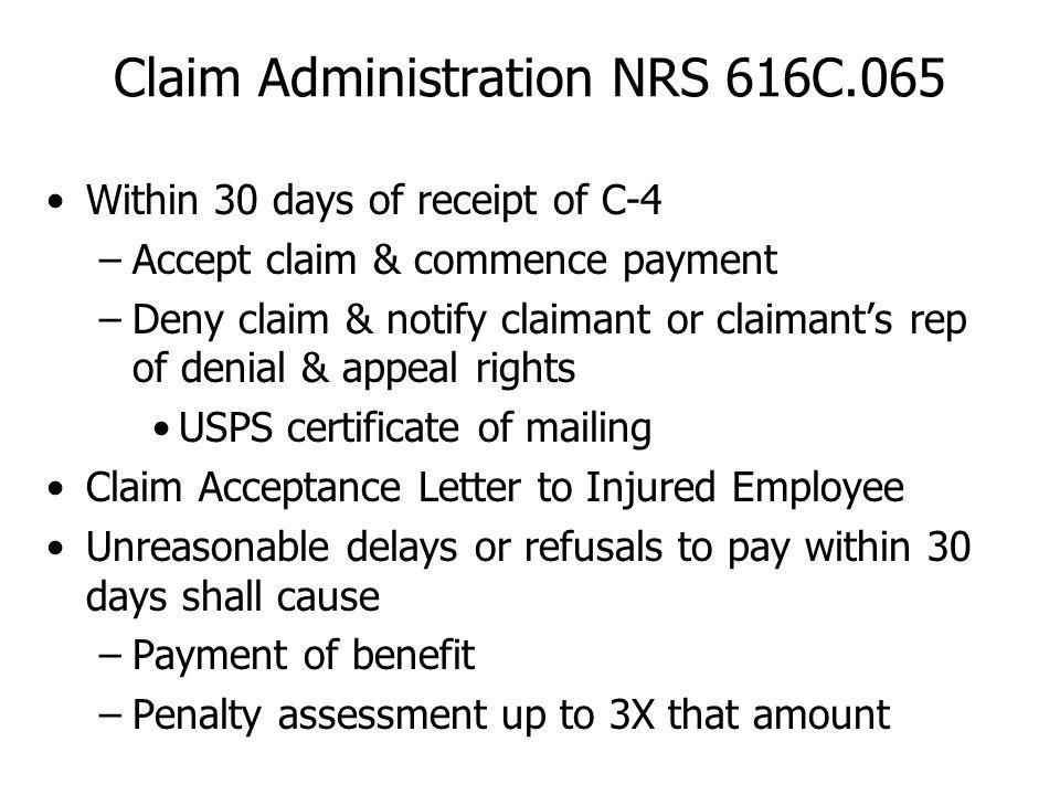 Claim Administration NRS 616C.065