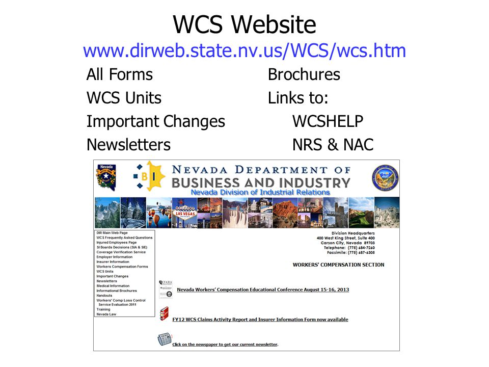WCS Website www.dirweb.state.nv.us/WCS/wcs.htm