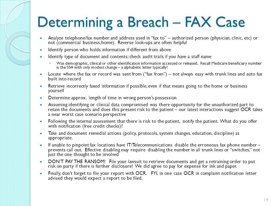 Determining a Breach – FAX Case