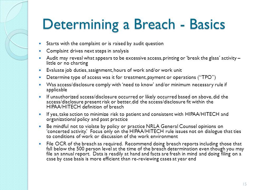 Determining a Breach - Basics