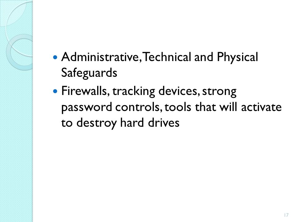 Administrative, Technical and Physical Safeguards