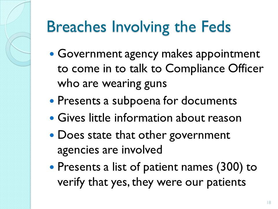 Breaches Involving the Feds