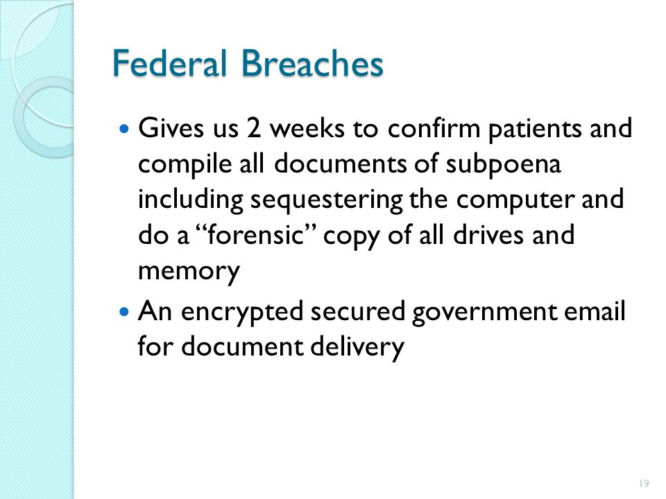 Federal Breaches