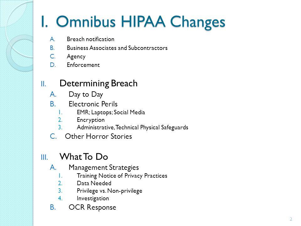 I. Omnibus HIPAA Changes