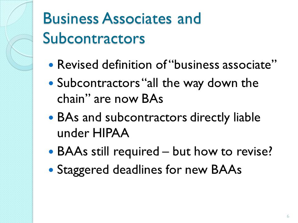 Business Associates and Subcontractors