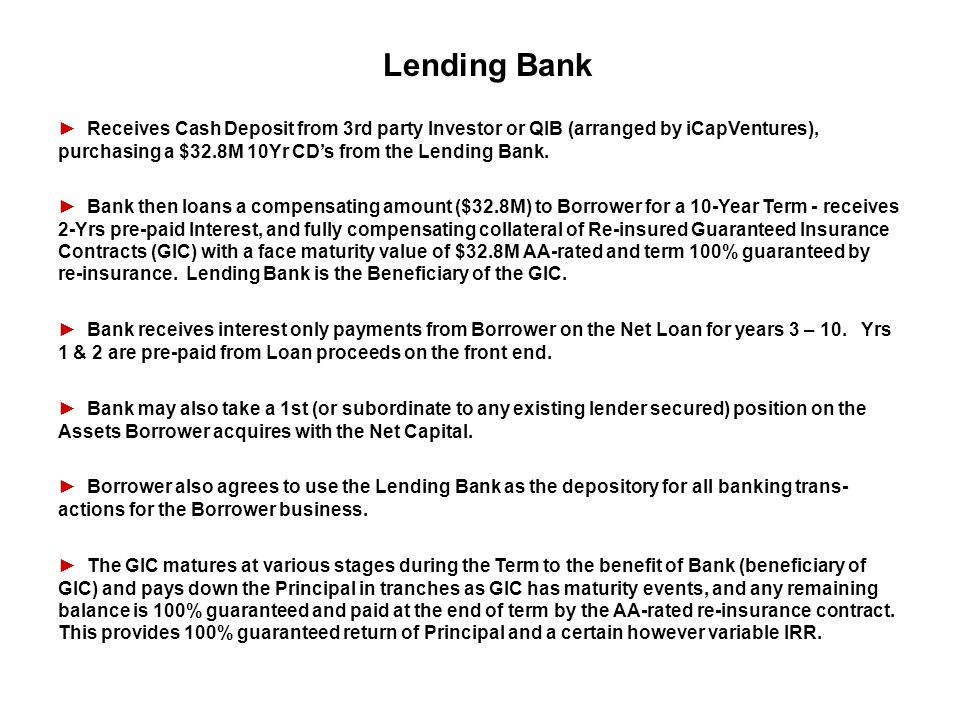 Lending Bank ► Receives Cash Deposit from 3rd party Investor or QIB (arranged by iCapVentures), purchasing a $32.8M 10Yr CD's from the Lending Bank.