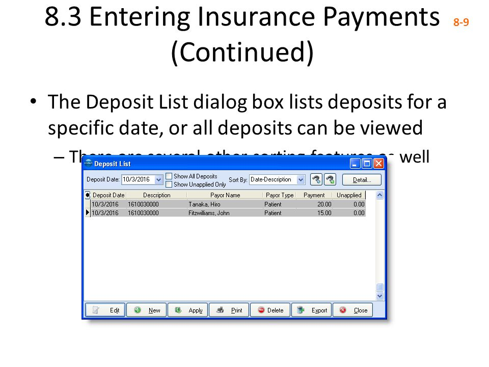 8.3 Entering Insurance Payments (Continued)