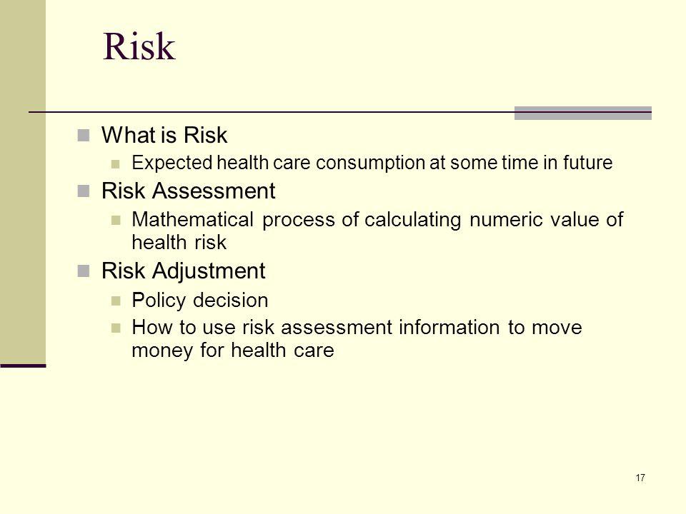 Risk What is Risk Risk Assessment Risk Adjustment