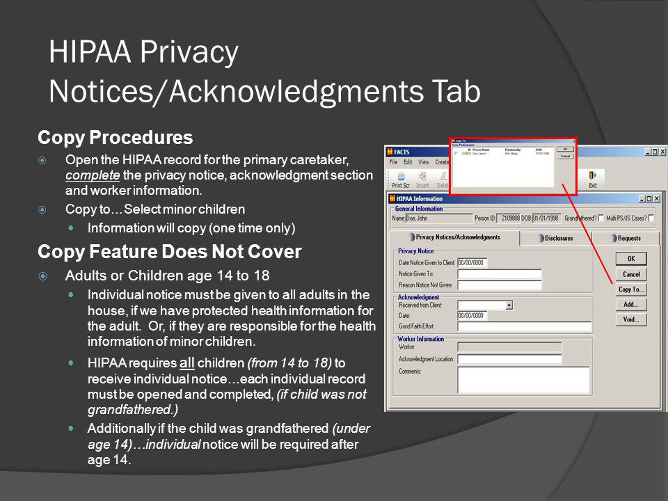 HIPAA Privacy Notices/Acknowledgments Tab