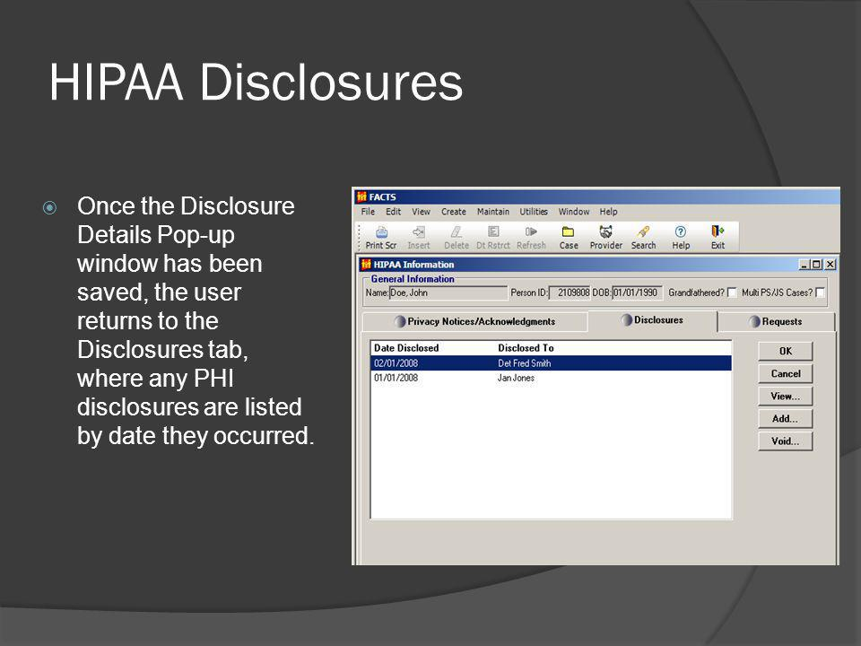HIPAA Disclosures
