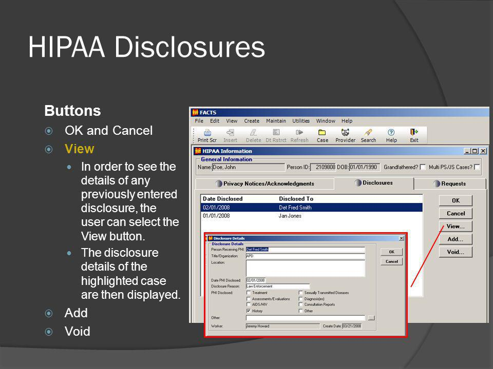 HIPAA Disclosures Buttons OK and Cancel View Add Void