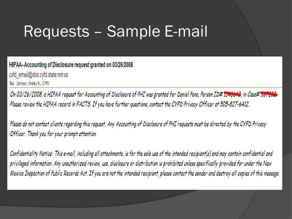 Requests – Sample E-mail