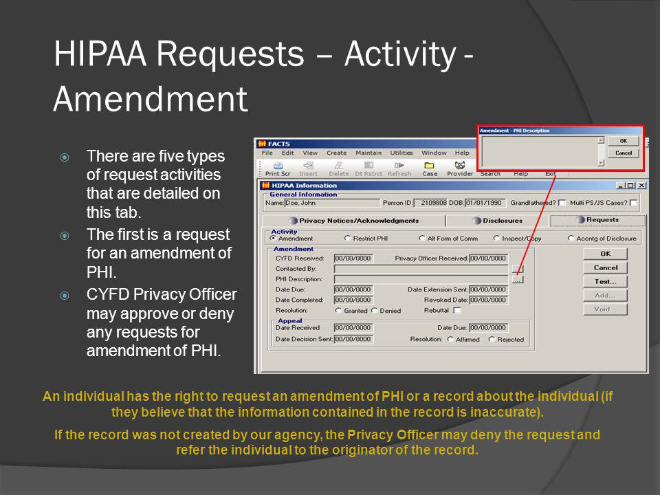 HIPAA Requests – Activity - Amendment