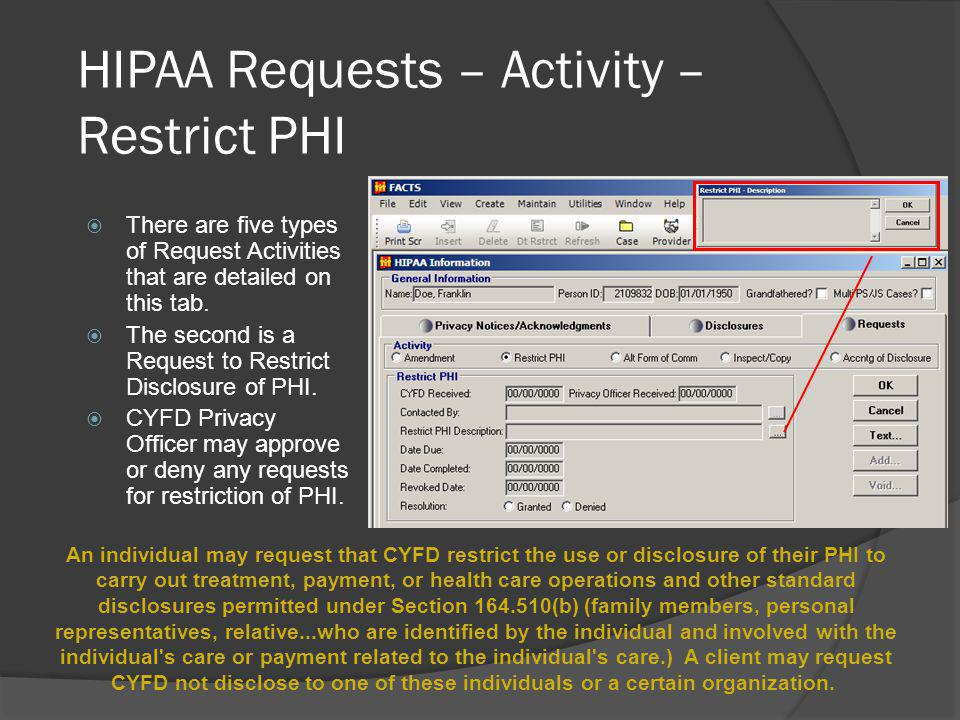 HIPAA Requests – Activity – Restrict PHI