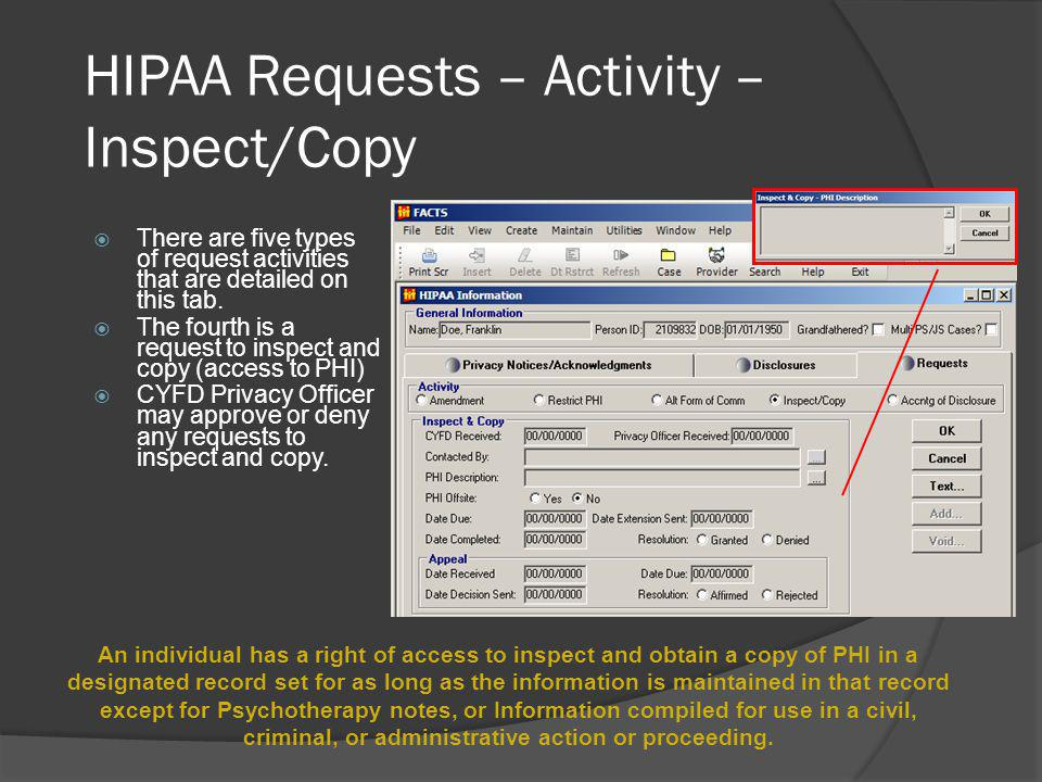 HIPAA Requests – Activity – Inspect/Copy
