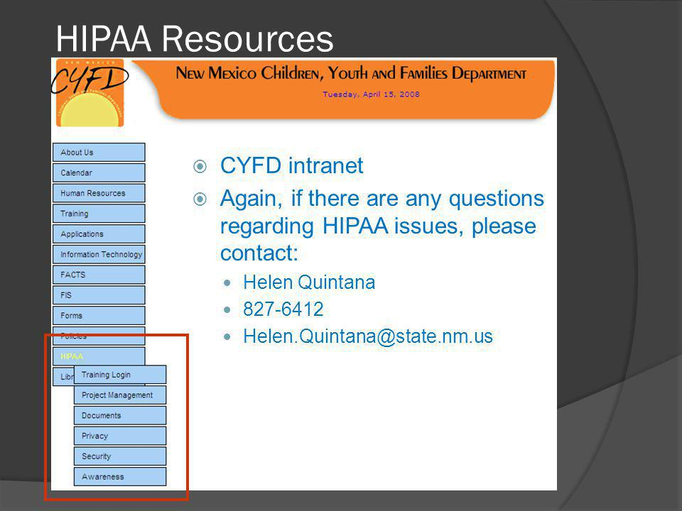 HIPAA Resources CYFD intranet