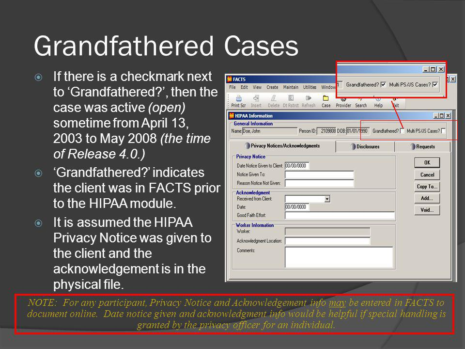 Grandfathered Cases