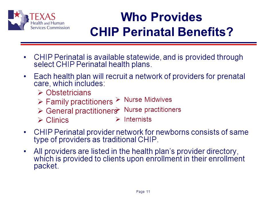 Who Provides CHIP Perinatal Benefits