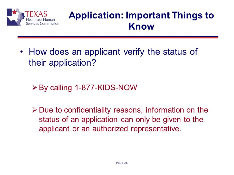 Application: Important Things to Know