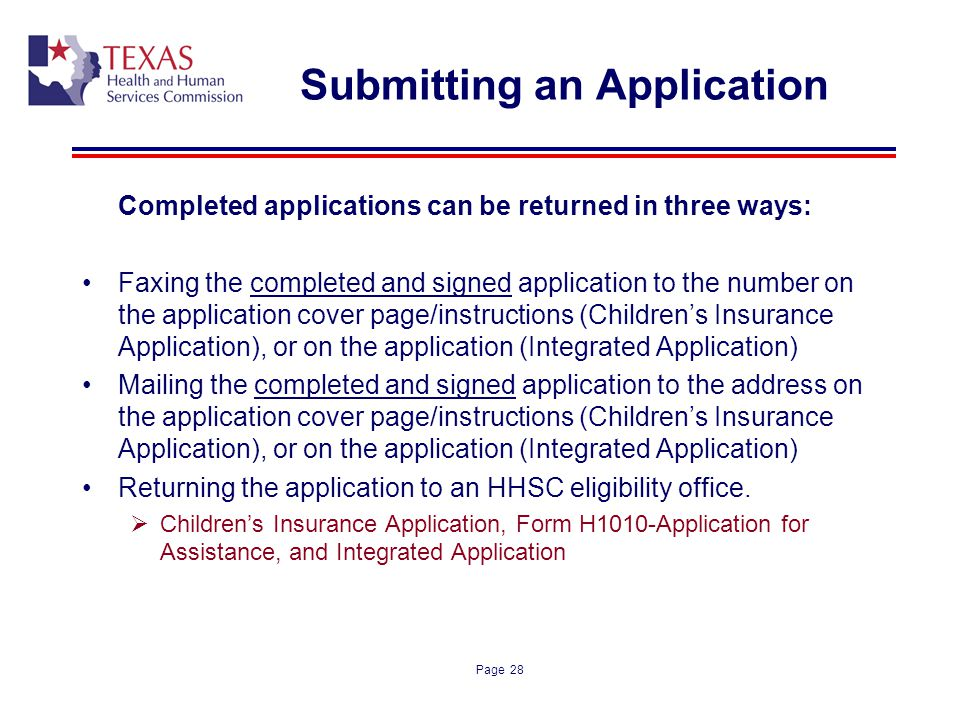 Submitting an Application