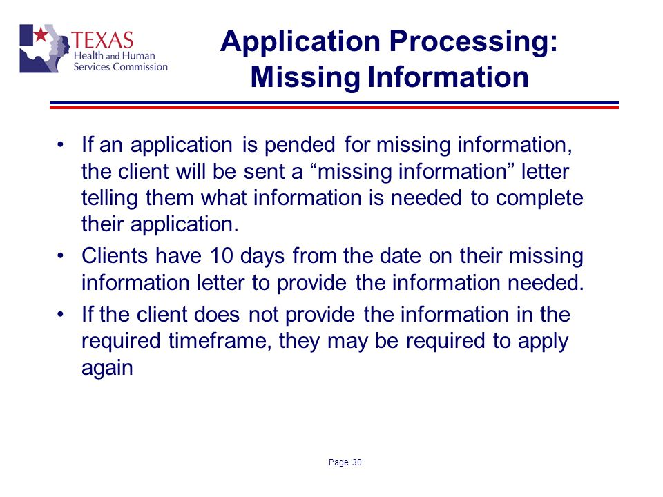 Application Processing: Missing Information