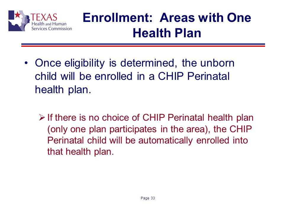 Enrollment: Areas with One Health Plan