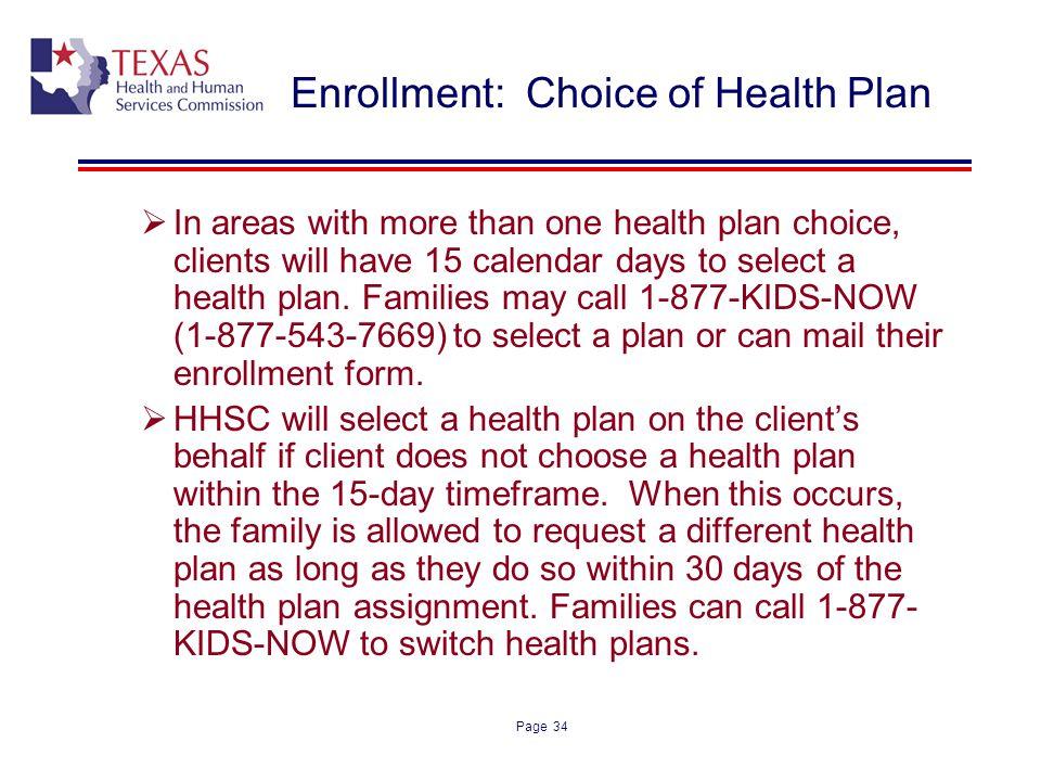 Enrollment: Choice of Health Plan