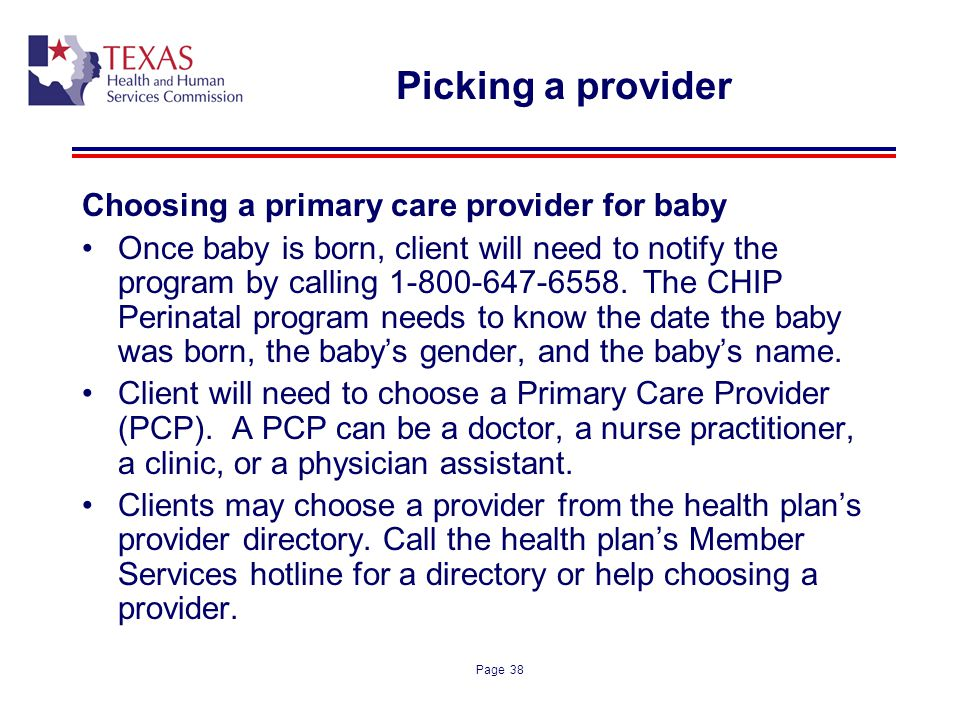 Picking a provider Choosing a primary care provider for baby