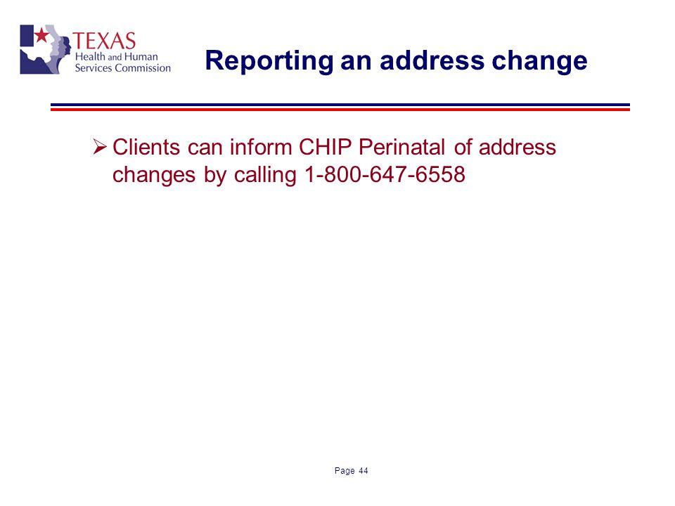 Reporting an address change